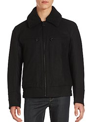 Andrew Marc New York Solid Long Sleeve Jacket Jet Black