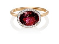 Irene Neuwirth Women's Mixed Gemstone Oval Faced Ring Red