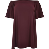 River Island Womens Ri Plus Dark Red Bardot Swing Dress