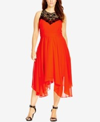 City Chic Plus Size Lace Yoke Empire Waist Dress Zing