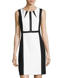 Tahari By Arthur S. Levine Colorblock Scuba Sheath Dress Black White