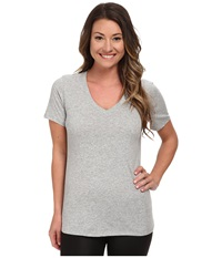 Nike Dri Fit Cotton V Neck Short Sleeve Tee Dark Grey Heather Medium Grey Women's T Shirt Gray