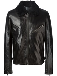 Dolce And Gabbana Shearling Collar Jacket Black