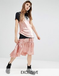 Reclaimed Vintage Satin Tiered Peplum Skirt Pink