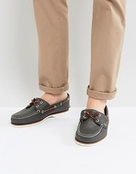 Timberland Classic Leather Boat Shoes Navy