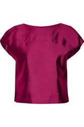 Raoul Cropped Wool And Silk Blend Top Magenta