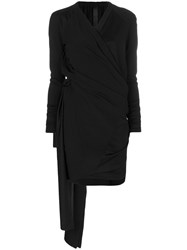 Ilaria Nistri Ruched Wrap Dress Spandex Elastane Viscose Wool Black
