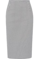 Michael Kors Collection Gingham Stretch Cotton Pencil Skirt Black
