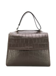 Orciani Croc Effect Tote Bag Brown
