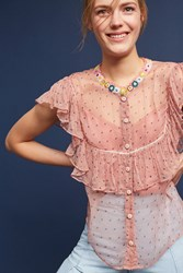 Anthropologie Beaded And Ruffled Blouse Pink