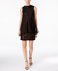 Si Fashions Sl Sequin Lace Shift Dress With Chiffon Overlay Black