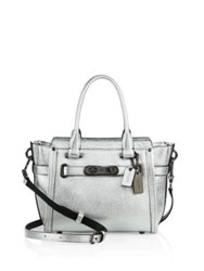 Coach Swagger Small Pebbled Leather Satchel Azure Silver Black Dahlia