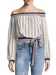 Lovers Friends Cannes Striped Off The Shoulder Top Silver