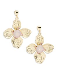 Rj Graziano Hammered Metal Floral Drop Earrings Blush