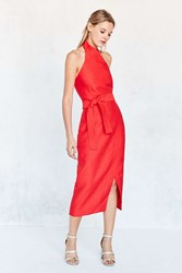 C Meo Collective Two Sides Halter Midi Dress Bright Red