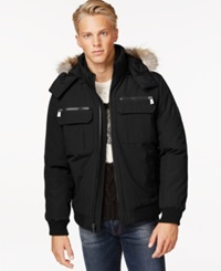 Calvin Klein Bomber Jacket With Faux Fur Hood Black