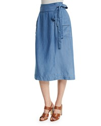 Neiman Marcus Chambray Tie Waist Midi Wrap Skirt Denim