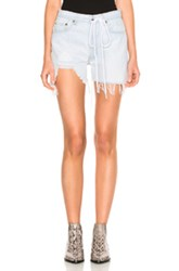 Off White Real Ripped Denim Shorts In Blue