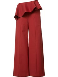Rosie Assoulin Wide Legged Peplum Trousers Red