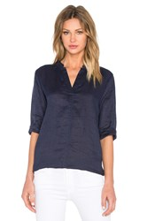 Michael Stars Lightweight Long Sleeve Split Neck Tunic Navy
