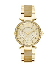 Michael Kors Ladies Parker Goldtone And Horn Chronograph Glitz Watch