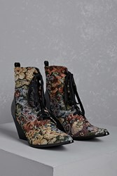 Forever 21 Floral Metallic Victorian Boots Multi