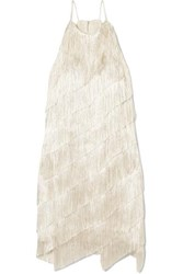 Halston Heritage Tiered Fringed Satin Crepe Mini Dress Cream