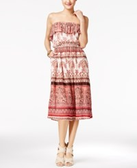 American Rag Printed Strapless Midi Dress Only At Macy's Egret Combo