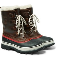 Sorel 1964 Caribou Faux Shearling Trimmed Waterproof Leather And Rubber Boots Dark Brown