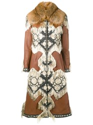 Alexander Mcqueen Embroidered Details Leather Coat Brown