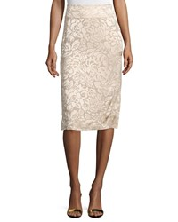 Donna Karan Floral Embroidered Pencil Skirt Parchment