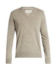 Maison Martin Margiela Leather Elbow Patch Linen Blend Sweater Grey