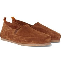Mulo Collapsible Heel Suede Loafers Brown