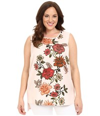 Vince Camuto Plus Size Sleeveless Top With Floral Portrait Woven Front Blush Balm Women's Blouse Multi