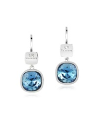 Rebecca Candy Rhodium Over Bronze Blue Drop Earrings Silver