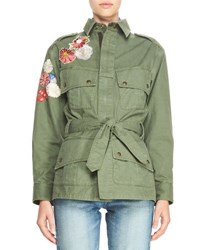 Saint Laurent Patchwork Embroidered Cargo Jacket Olive
