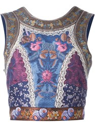 Etro Patchwork Laced Tie Back Tank Top Blue