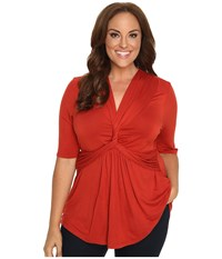 Kiyonna Caycee Twist Top Paprika Women's Short Sleeve Pullover Red