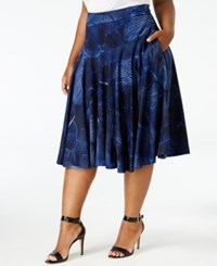 Melissa Mccarthy Seven7 Trendy Plus Size Fit And Flare Skirt Evening Blue
