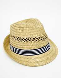 French Connection Straw Trilby Beige