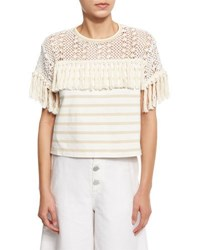 See By Chloe Boxy Cropped Mixed Media Tee Cream