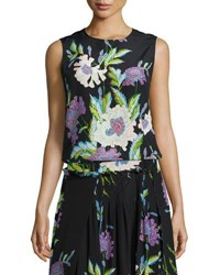 Diane Von Furstenberg Floral Print Silk Shell Top Black Multicolor