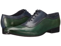 Messico Bohemios Green Blue Leather Men's Dress Flat Shoes