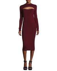 Mcq By Alexander Mcqueen Body Con Long Sleeve Dress Wine