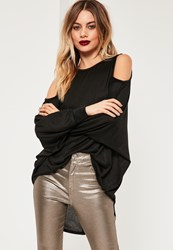 Missguided Black Cold Shoulder Oversized Tunic