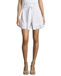 See By Chloe Belted Pleated Eyelet Shorts White