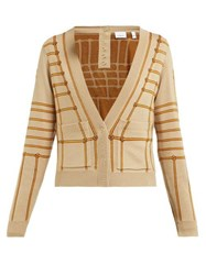 Burberry Chain Intarsia Silk Blend Cardigan Beige Multi