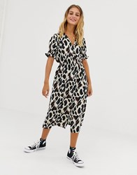 Influence Shirred Sleeve Midi Dress With Button Front In Leopard Print Leopard Print Brown
