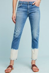 Anthropologie Citizens Of Humanity Agnes High Rise Bleached Cropped Jeans Denim Medium Blue