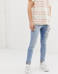 Jack And Jones Intelligence Liam Skinny Ripped Jeans Blue